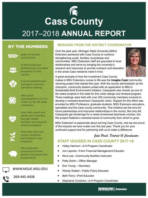 Cass County Annual Report 2017-18 cover