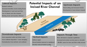 A graphic rendering of the potential impacts of an incised river channel, including lateral, downstream, vertical, upstream impacts, and also impacts through time.