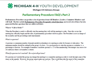 Parliamentary Procedure FAQ's Part 2