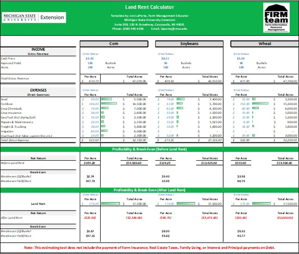 This is the front view of the land rent calculator main page.