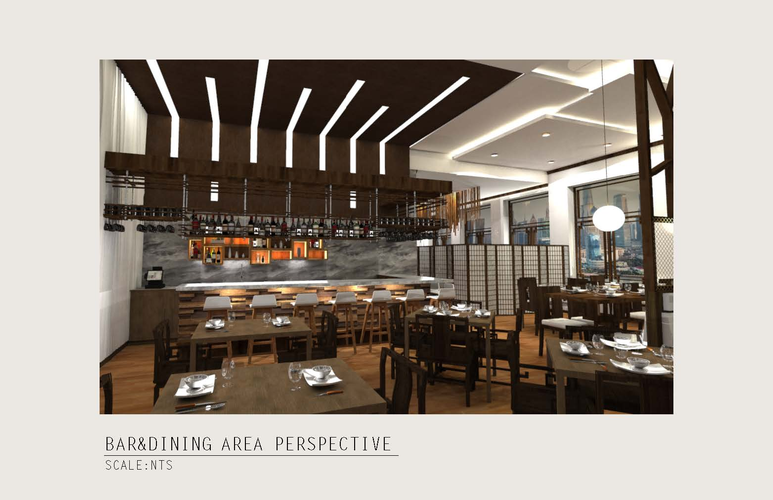 View 4: Perspective Rendering of the Bar & Dining Area