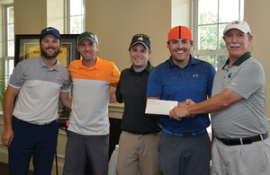 Photo of the winning foursome of the 2017 LA Golf Outing Fundraiser, including Don Stefanko, Brian Voelz, Drew Jackson and Jack McDonough.