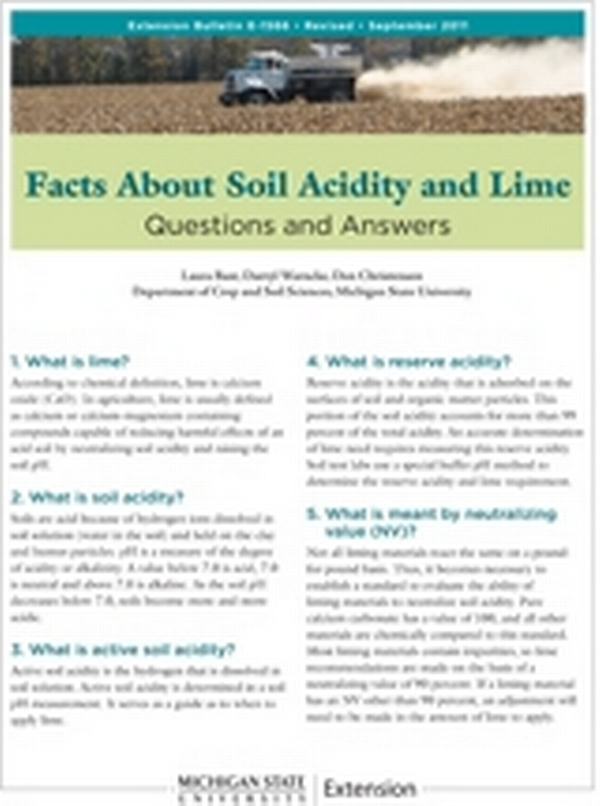 Facts About Soil Acidity And Lime E1566 Msu Extension