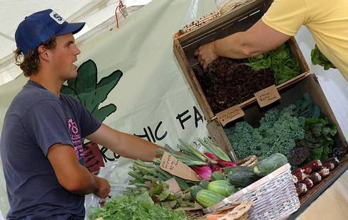 Students from the Student Organic Farm at MSU sell produce on Thursdays at the Auditorium