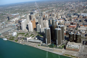 An aerial view of the Detroit riverfront. | Michigan Sea Grant