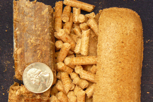Wood pellets of various sizes and shapes.