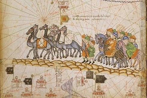 Historical illustration of the silk road.