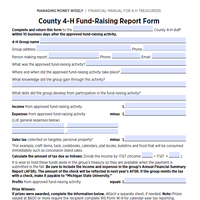 This is an image of the County 4-H Fundraising Report Form.