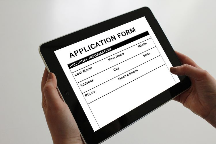 Application form on a tablet