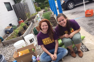 Stephanie and Mikaela partnered with the Father Fred Foundation to restore garden beds on the 9/11 National Day of Service. Photo credit: Meghan McDermott