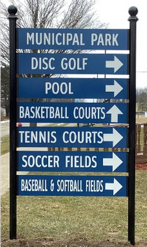 A sign showcasing the various fields and courts.