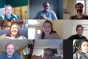 MSU assistant professor Aaron McKim (top row, second from left) and Mark Forbush (top row, farthest left) led an online forum with current and future student teachers in agriculture, food and natural resources in spring 2020.