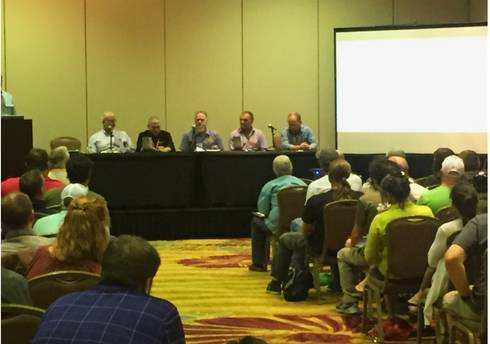 Panel members discuss trellis design at the 2016 American Hop Convention in Palm Desert, CA.