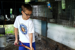 Michigan 4-H'er, Jack, sells his rabbits' manure to gardeners looking for fertilizer alternatives.