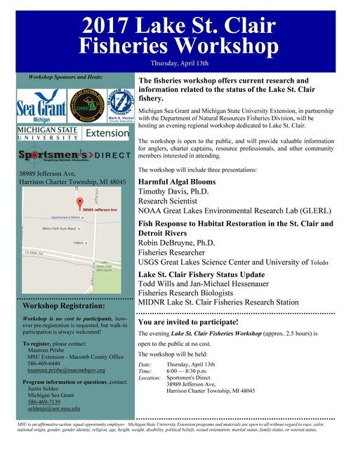 2017 Lake St. Clair Fisheries Workshop Flyer