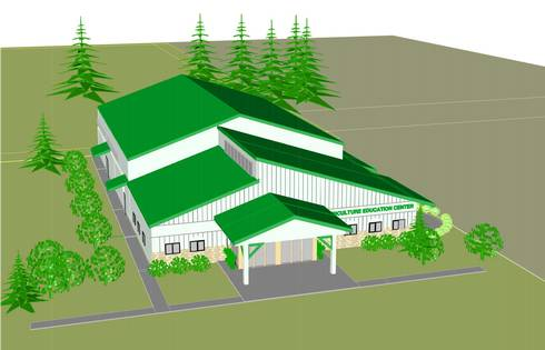 A rendering of the SVREC Agricultural Education Center. Illustration by Daniel Walter.