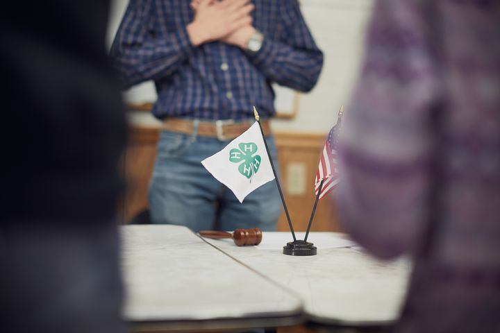 4-H flag on a table