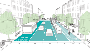 A street redesign to 10 foot travel lanes, National Association of City Transportation Officials