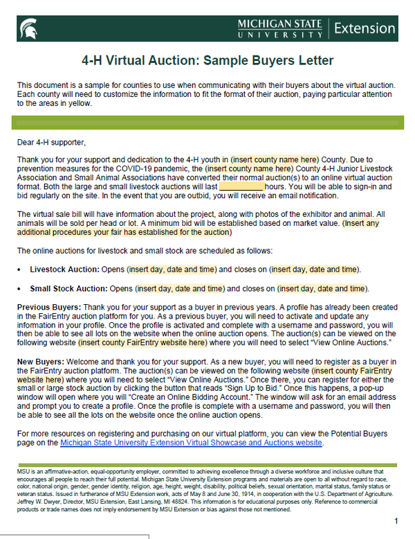 Extension Letter Sample from www.canr.msu.edu