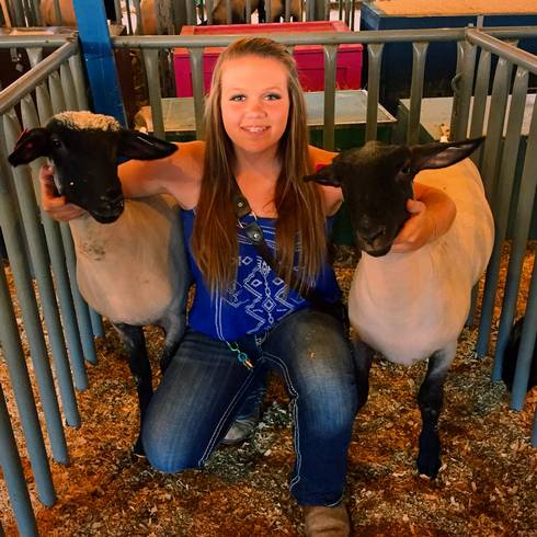 Sarah Stickel and her two lambs.