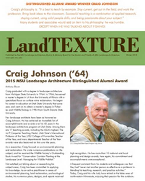 Front cover of the LandTEXTURE Newsletter, Winter 2016.