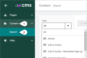How to navigate from the Content dashboard in dotCMS and select for the Digital Document content type.