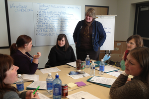 (1)	4-H Program Coordinator, Leigh Ann Theunick, facilitates a small group discussion about potential future place-based projects and how these connect with school learning goals.