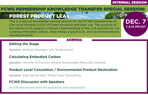 FCWG Membership Knowledge Transfer Special Session: Forest Product LCAs