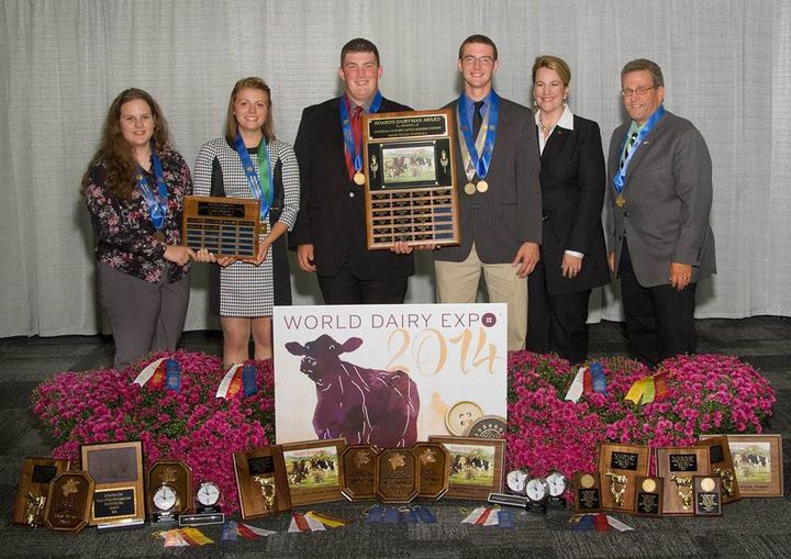 The 2014 Michigan high placing 4-H Dairy Judging Team at World Dairy Expo. From left: Suzanna Hull, Kayla Holsten, Lucas Moser, Bryce Frahm, Coach Sarah Black, Coach Dr. Joe Domecq.