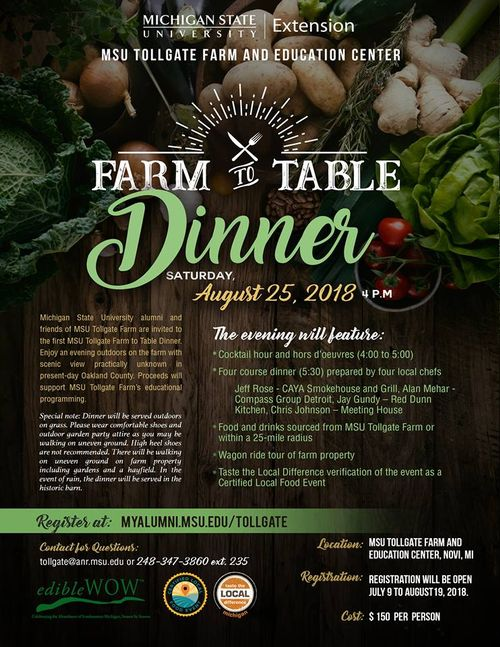 Flyer for Farm to Table Dinner event 2018