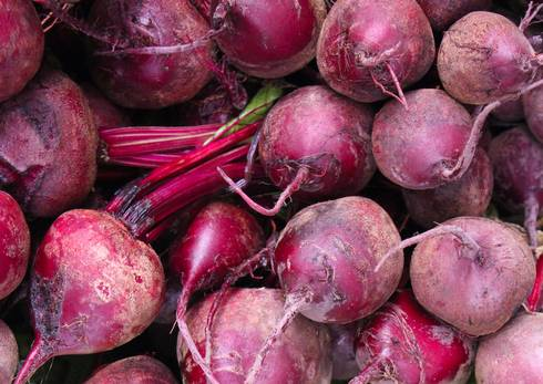 Close up shot of fresh beets.