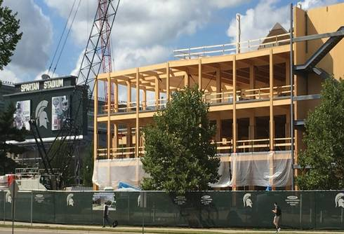 The new mass timber STEM building under construction on the campus of Michigan State University.