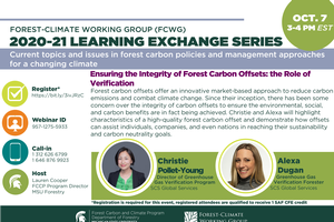FCWG 2020-21 Learning Exchange Series Session: Ensuring the Integrity of Forest Carbon Offsets: the Role of Verification