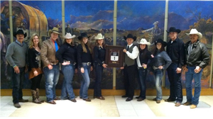 MSU Rodeo Club accepting award for Indoor Rodeo of the Year