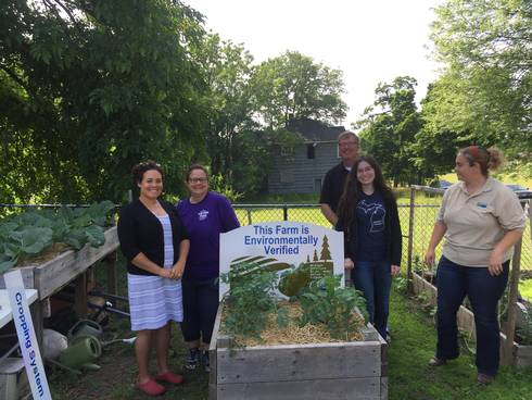 Photo from left to right: Micah Hutchison, Edible Flint Training Coordinator; Ginny Farah, Edible Flint Volunteer Garden Manager; Joe Kelpinski, MAEAP Program Manager; Anna Williams, MAEAP Genesee Conservation District Technician; Shelby Burlew; MAEAP Verifier