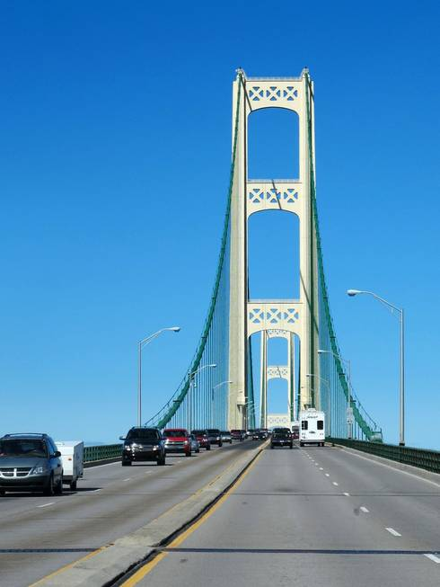 The Mackinac Bridge at the heart of the Straits Area of Michigan, a region where smoked fish abounds. | Michigan Sea Grant