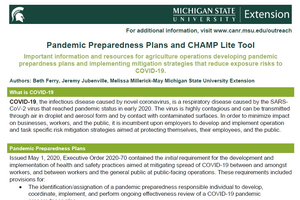 Pandemic Preparedness Plans and CHAMP Lite Tool