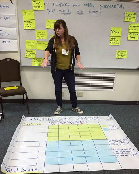 Jessica with decision-making tool during a stakeholder workshop