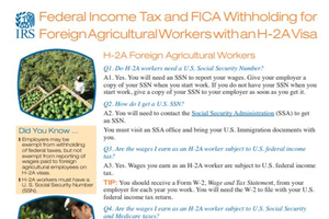 Federal Income Tax and FICA Withholding for Foreign Agricultural Workers with an H-2A Visa