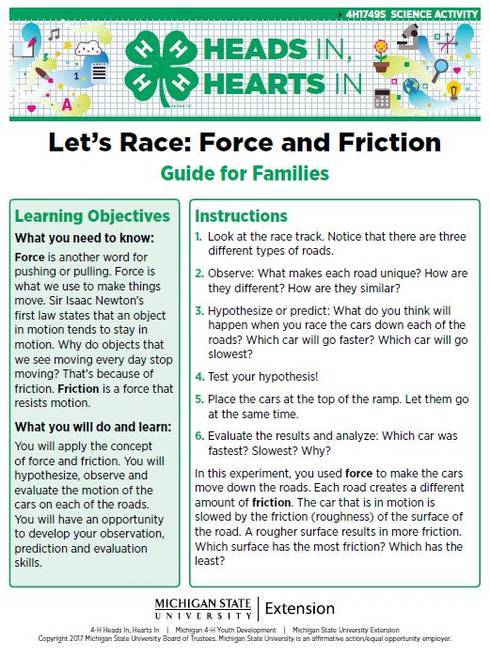 Let's Race: Force and Friction cover page.