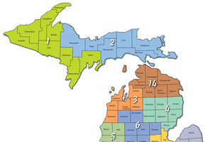 Michigan map showing counties