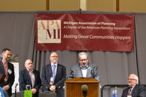 Representatives from MSHDA, LPI & MML receiving the MIplace Partnership Initiative special award at 2016 Planning Michigan Conf.