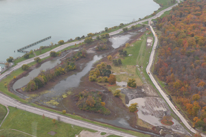 An aerial photograph overlooks the reconstruction project at Lake Okonoka. The project included 45 acres of aquatic and upland habitat.