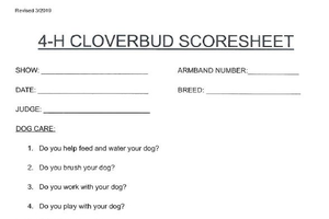 Michigan 4-H Dog Show Scoresheets