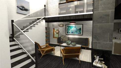 This rendering by Lauren Stoklas features an interior perspective of the main living space.