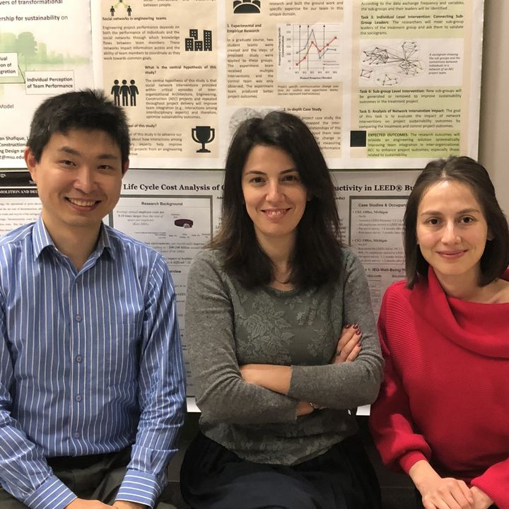 Dong Zhao and Sinem Mollaoglu are sitting with Meltem Duva, a construction management PhD student.