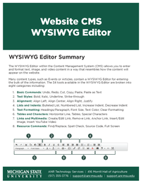 Page of of dotCMS WYSIWYG Editor Document