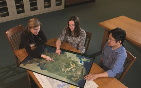Pat Soranno (left) and MSU fisheries and wildlife colleagues are developing a big data approach to ecology.