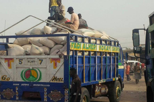 Truck transporting maize in Nigeria