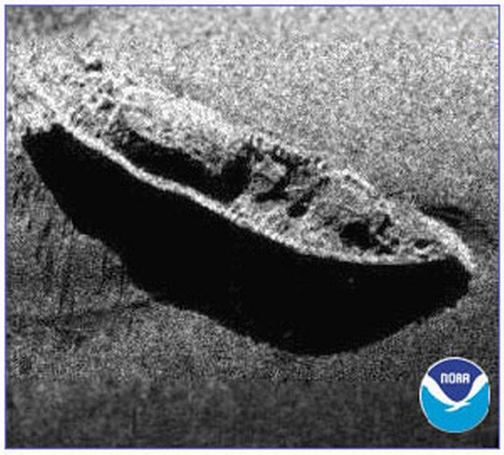 An example of a side scan sonar shows the Civil War ironclad USS Monitor. Photo: NOAA
